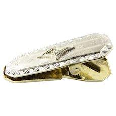 Vintage 14K Yellow and White Gold Diamond Tie Clip