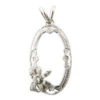 Vintage 10K White Gold Diamond Pendant