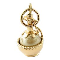 Vintage 14K Yellow Gold and Pearl Chianti Bottle Charm