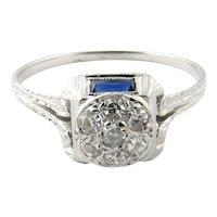 Vintage 19 Karat White Gold Diamond and Sapphire Ring Size 6.5