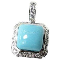 Vintage 14 Karat White Gold Turquoise and Diamond Pendant