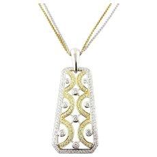 Vintage 18 Karat Two-Tone Diamond Pendant and Chain