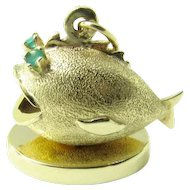 Vintage 14 Karat Yellow Gold And Jade Blowfish Pendant