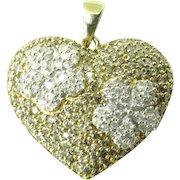 Vintage 14 Karat Two-Tone Gold Diamond Heart Pendant