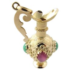 Vintage 18K Yellow Gold Pitcher Charm with Pink and Green Stones