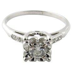 Vintage 18 Karat White Gold Diamond Ring Size 7.5