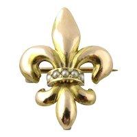 Vintage 14K Yellow Gold Fleur De Leis and Pearl Pin Pendant
