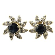Vintage 14 Karat Yellow Gold Sapphire and Diamond Earrings