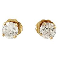 Vintage 14 Karat Yellow Gold Diamond Stud Earrings .72 ct.