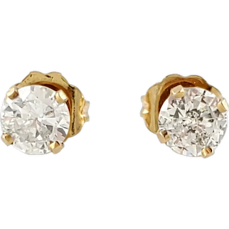 Vintage 14 Karat Yellow Gold Diamond Stud Earrings .72 ct.