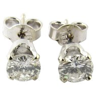 Vintage 14 Karat White Gold Diamond Stud Earrings .84 ct.