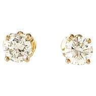 Vintage 14 Karat Yellow Gold Diamond Stud Earrings .90 ct.