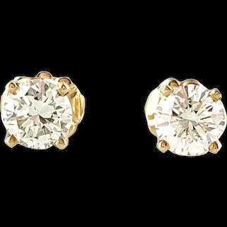 Vintage 14 Karat Yellow Gold Diamond Stud Earrings .90 ct.