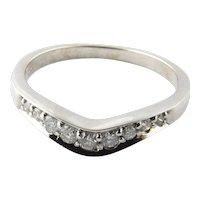 Vintage 14 Karat White Gold Chevron Diamond Wedding Band Size 6.5