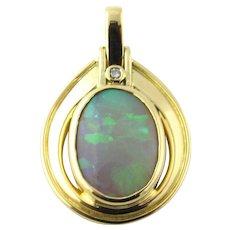 Vintage 18 Karat Yellow Gold Opal and Diamond Pendant