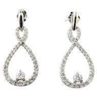 Vintage 14 Karat White Gold Diamond Earrings