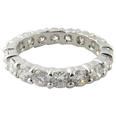 Vintage Platinum Diamond Wedding Eternity Band Size 6.5 /  2.7 carats