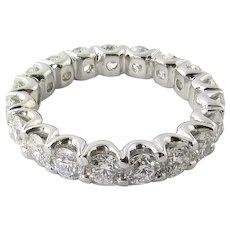 Vintage Platinum Diamond Wedding Eternity Band Size 6 / 2.65 carats