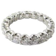 Vintage Platinum Diamond Wedding Eternity Band Size 6 / 2.65 carats