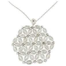 Vintage 14K White Gold and Diamond Large Floral Snowflake Pendant Necklace