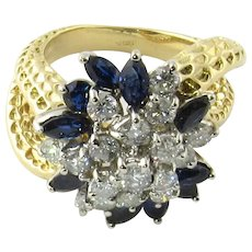 Vintage 18K Yellow Gold Sapphire and Diamond Floral Cocktail Ring Size 7