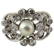 Vintage 14 Karat White Gold Pearl and Diamond Ring Size 9