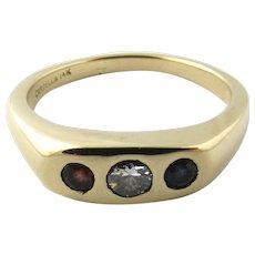 Vintage 14 Karat Yellow Gold Ruby, Sapphire and Diamond Ring Size 11.75