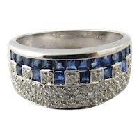 Vintage 14 Karat White Gold Diamond and Sapphire Ring Size 7.25