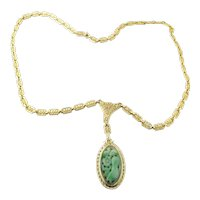 Vintage 14 Karat Yellow Gold and Carved Jade Necklace