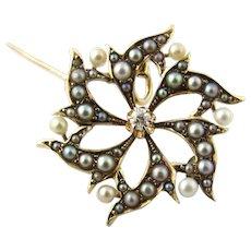 Vintage 14 Karat Yellow Gold Pearl and Diamond Pendant/Brooch
