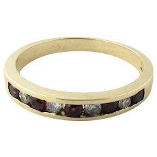 Vintage 14 Karat Yellow Gold Ruby and Diamond Wedding Band Size 6