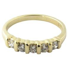 Vintage 14 Karat Yellow Gold Diamond Wedding Band Size 6.25