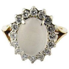Vintage 14 Karat Yellow Gold Moonstone and Diamond Ring Size 7.75