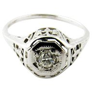 Vintage Art Deco Filagree 18K White Gold .25ct Diamond Solitaire Ring Size 7.25