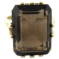 Vintage 10 Karat Yellow Gold Smoky Topaz Ring Size 5.75