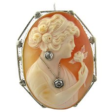 Antique 14 Karat White Gold Cameo Pendant/Brooch