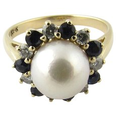 Vintage 14 Karat Yellow Gold Pearl, Diamond and Sapphire Ring Size 6.75