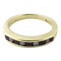 Vintage 14 Karat Yellow Gold Ruby and Diamond Wedding Band Size 4.75