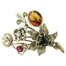 Antique Victorian 14 Karat Yellow Gold Diamond, Gemstone and Pearl Hatpin Brooch