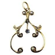 Antique 10 Karat Yellow Gold Pearl Victorian Pendant
