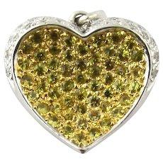 Vintage 14 Karat Yellow and White Gold Diamond Heart Pendant