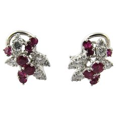 Vintage Platinum and 18K White Gold Ruby and Diamond Earrings