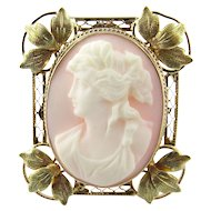 Antique Victorian 10 Karat Yellow Gold Cameo Pendant/Brooch