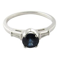 Vintage 14 Karat White Gold Sapphire and Diamond Ring Size 6.25