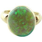 Vintage 14 Karat Yellow Gold Green Opal Ring Size 7