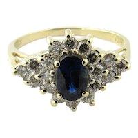 Vintage 14 Karat Yellow Gold Sapphire and Diamond Ring Size 7.5