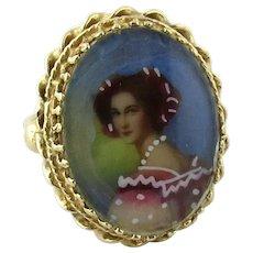 Antique 14K Yellow Gold Lady Portrait Ring Size 4.5