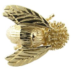 Vintage 14K Yellow Gold Bee Brooch/Pin