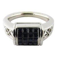 Vintage 14 Karat White Gold Diamond and Sapphire Convertible RIng Size 6.5