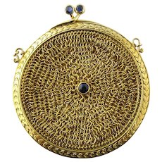 Vintage 14 Karat Yellow Gold and Sapphire Mesh Change Purse